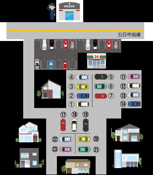 駐車場全体のイラスト